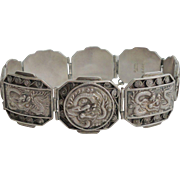 Antique Asian Vietamese Export Dragon Repousse 900 Sterling Silver Bracelet