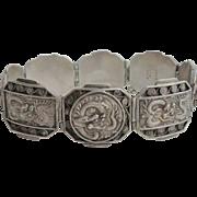 Antique Asian Vietamese Export Dragon Repousse 900 Sterling Silver Bracelet