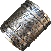 C1880 Aesthetic Movement Gorham Sterling Silver Napkin Ring Bright Cut and Engraved 1.59 Troy Ounces
