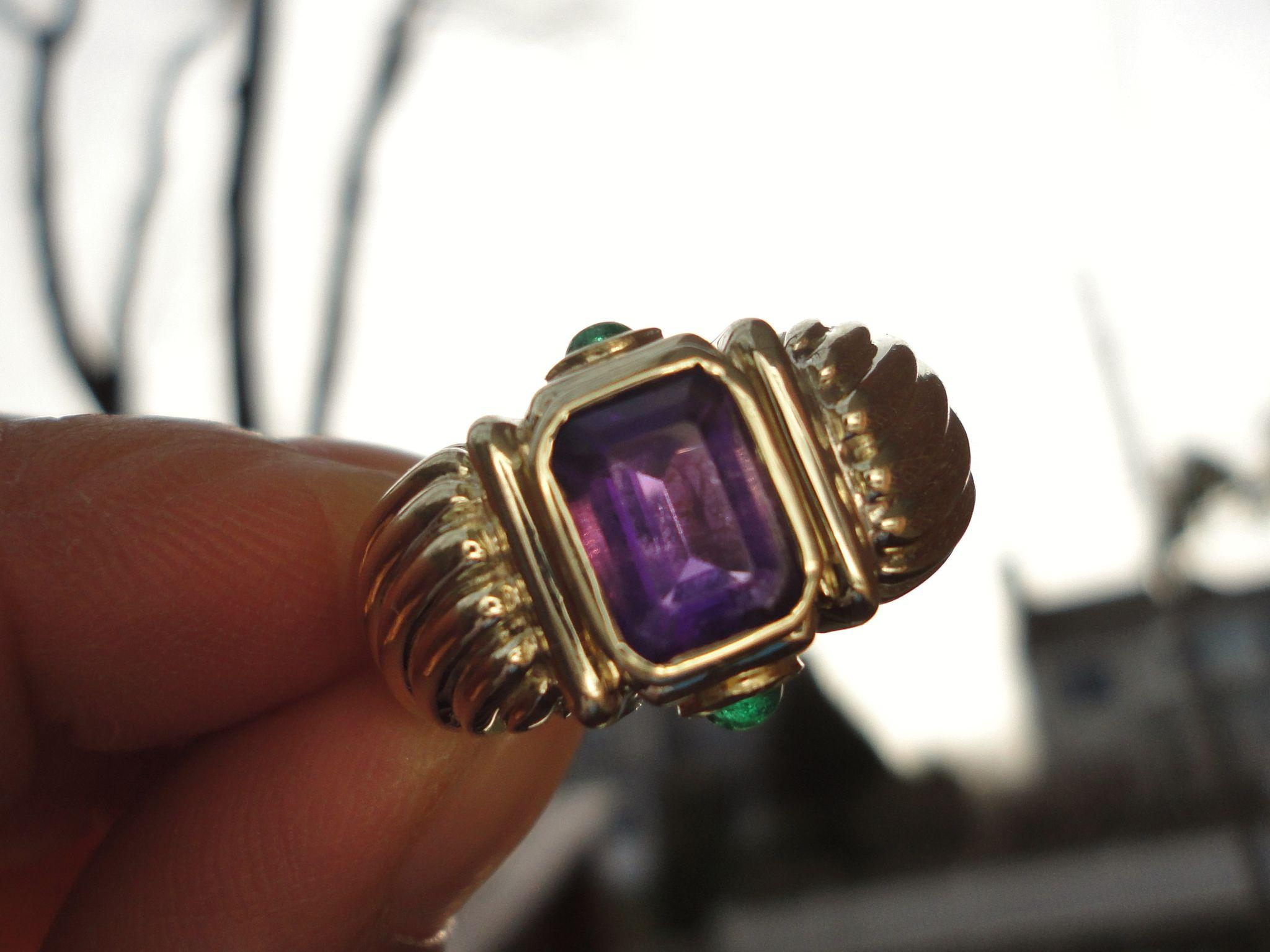 david yurman renaissance solid 14k amethyst emerald ring