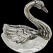 Elegant Victorian Swan Open Salt Cellar Silverplate Movable Wings