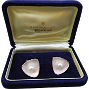Authentic  Mikimoto Sterling Silver Cultured 7.5 mm Pearl Concave Cufflinks with Original BOX