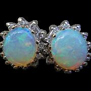 Mesmerizing 14K White Gold Diamond Halo Large Crystal Opal Earrings
