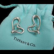 Vintage Tiffany & Co. Elsa Peretti Open Heart Earrings Platinum Ruthenium Sterling