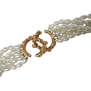 Beautiful 7 Strand Fresh Water Pearl Necklace Heavy Naturaliztic 14K Yellow Gold Clasp