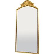 Art Deco C1933 B. M. Co Gilt Wood Framed Etched Mirror with Metal Fixtures