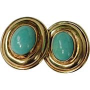 Retro Bold and Statement Persian Turquoise 14K Yellow Gold Earrings 22.6 Grams