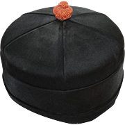Chinese Mens Black Silk Hat Qing Decorated with Genuine Coral Seed Bead