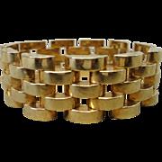 14K Yellow Gold Gate Link Designer Heavy Bracelet 50.1 grams