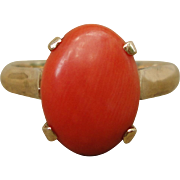 Classic 14K Yellow Gold Mediterranean Red Coral Solitary Ring Size 5