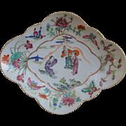 "Oversized Chinese Famillie Rose Porcelain Pedestal Dish Female Scholars 11 1/4"" X 9 1/4"""