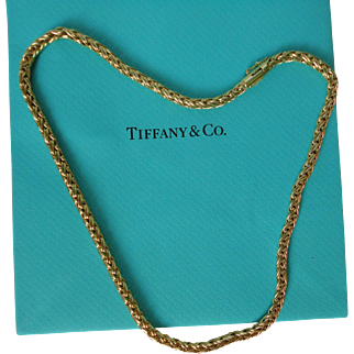 """Vintage Tiffany & Co. 14k Gold Russian Double Wheat Braid Link Necklace 16"""" 19.3 Grams"""