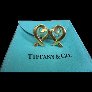 Tiffany & Co 18K Gold Paloma Picasso Loving Heart Earrings Omega Back Large 11.8g