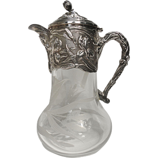 Outstanding Art Nouveau Style Repousse Iris Silverplate Etched Glass Claret Jug Water Pitcher