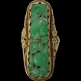 Art Nouveau 14K Elongated Carved Green Jadeite Jade Ring
