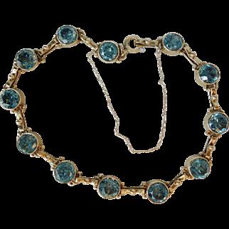 Art Deco 14K Yellow Gold Blue Zircon Bracelet