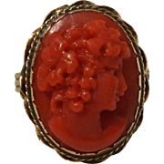 Early 1900s Sardinian Oxblood Red Coral Cameo High relief 14K Yellow Gold Ring Size 6