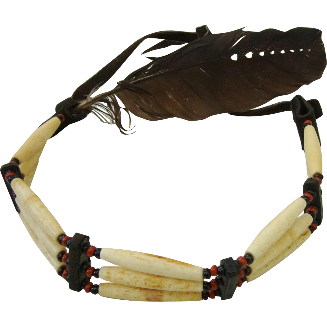 Native American Head Band Headdress Bone Beads and Painted Feather