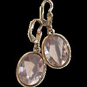 Pair Large Fancy Cut Rose-de-France 14K Yellow Gold Pink Amethyst Dangle Earrings