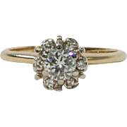 Art Deco 14K Yellow White Gold Diamond Halo Cluster Ring 0.45 Carats Size 4.25