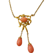 """Art Nouveau French 18K Yellow Gold Salmon Coral Necklace 16"""""""