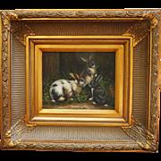 Elaborately Framed Oil on Board Three Bunnies Rabbits Feeding 19 X 17 inches