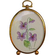 Purple Flowers Miniature Watercolor in Dome Glass Frame by F. Borofsky Dollhouse Decaration