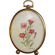 Miniature Watercolor Red Flowers in Dome Glass Frame by F. Borofsky Dollhouse Decoration