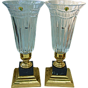 Scarce Pair Electric Hurricane Lamp in Pompeii Collection Marble and Brass Base by Waterford C1995