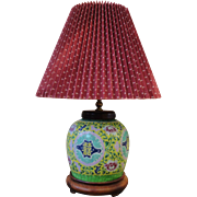 19th Century Chinese Famille Rose Jaune Double Happiness Ginger Jar Table Lamp with New Brundswick Shade