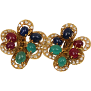 C1960s French 18K Yellow Gold Diamond Ruby Sapphire Emerald 10.4 Carats Earrings Clip on