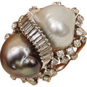 18K WG Huge South Sea Gray Baroque South Sea Double Pearls 1.5 Carat Diamonds Cocktail Ring