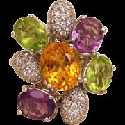 Fred Paris 18K White Gold 1 Ct Diamond Multi Gemstone Cocktail Ring Peridot Amethyst Citrine