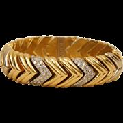 Elegant 18K Yellow White Gold 1 Ct Diamond Chevron Bracelet 52 Grams