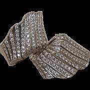 Damiani 18K White Gold 3.6 Carat Diamond Wave Earrings