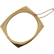 14K Yellow Gold Mid Century Modernistic Design Bangle Bracelet 36.3 Grams