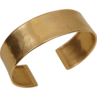 14K Yellow Gold Italy Designer Hammered Finish 14K Yellow Gold Cuff Bracelet