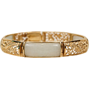 14K Yellow Gold Reticulated 4 Seasons Jadeite Jade Sectional Bracelet