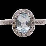 14K White Gold Diamonds Blue White Topaz Halo Ring