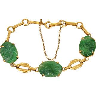 Art Deco Chinese 14K Yellow Gold Carved Green Jadeite Jade Bracelet