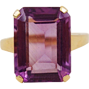 Retro 14K Yellow Gold Emerald Cut 10 Carats Amethyst Cocktail Dinner Ring Size 6