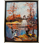 Morris Katz Oil Painting on Board Lake Scene - World's Fastest Painter