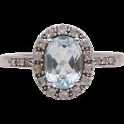 14K White Gold Diamonds Aquamarine White Topaz Halo Ring