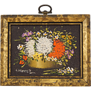 Minature Oil Painting on Board Still Life Flowers in Gilt Frame A. Harriett Grau Dollhouse Decoration