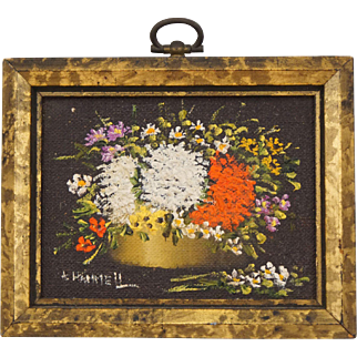 Minature Oil Painting on Board Still Life Flowers in Gilt Frame A. Harriett Grau Dollhouse Decoration