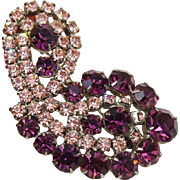 Beautiful Amethyst Purple and Pink Rhinestone Demi Parure Bracelet and Large Brooch/Pin