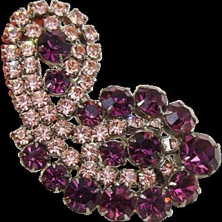 Beautiful Amethyst Purple and Pink Rhinestone Demi Parure Bracelet and Large Brooch/Pin