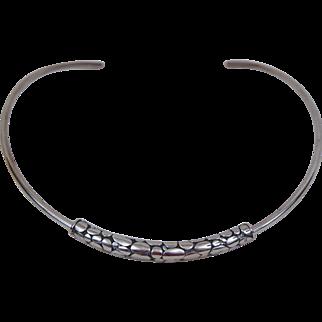 Designer Sterling Silver Collar Choker Necklace Tubular Pendant Animal Print