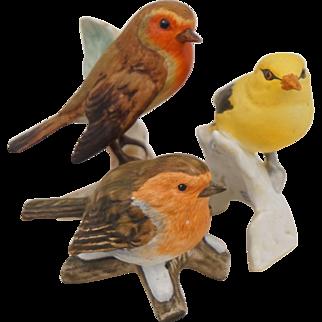 Trio Goebel Birds Figurine Buchfink Chatfinch Golden Oriole Robin