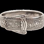 Art Deco March Sterling Silver Black Enamel Buckle Bracelet Engraved Roses and Vines
